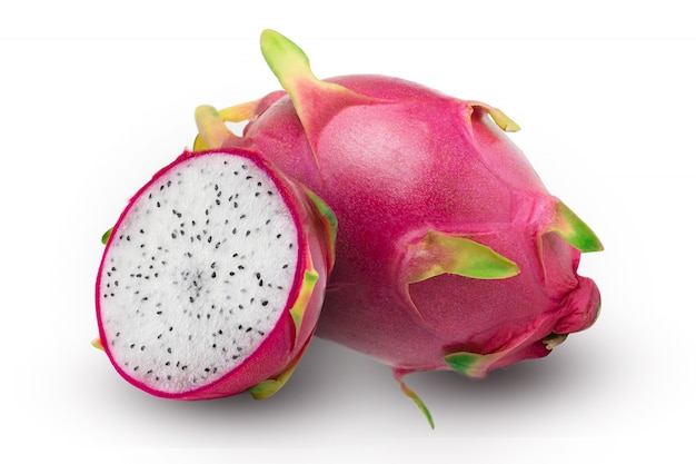 Ripe dragon fruit with half, isolated on white background