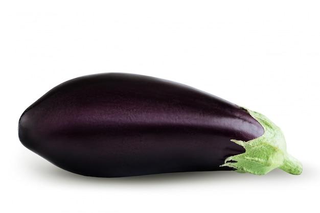 Ripe eggplant on white background