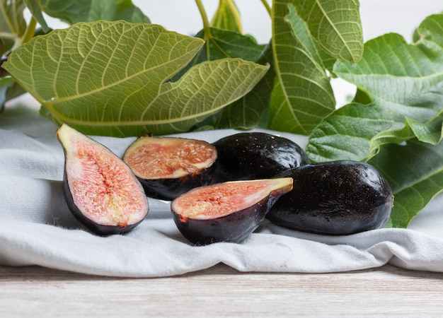 Ripe figs freshly picked from the fig tree