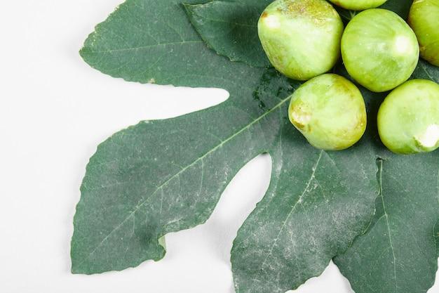 잎에 잘 익은 신선한 녹색 무화과. 고품질 사진