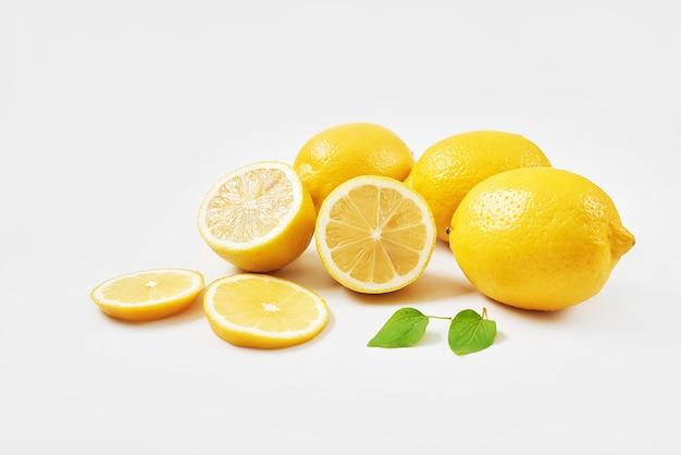 Ripe fresh group of lemons isolated