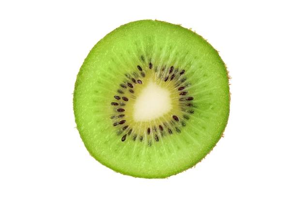 Ripe fresh juicy single qiwi fruit close up closeup slice of one green kiwi fruit isolated on white Premium Photo