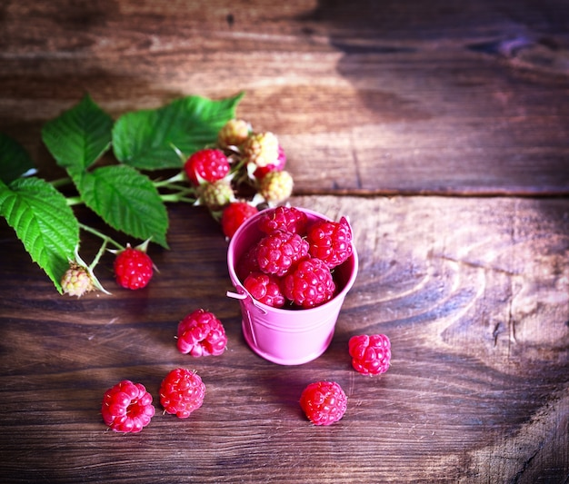 Ripe fresh raspberries in a pink iron bucket