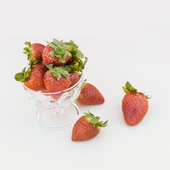 Ripe fresh strawberries in close-up
