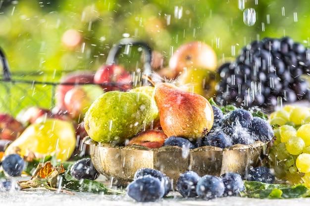 夏の雨の間、庭のテーブルに熟した果実。