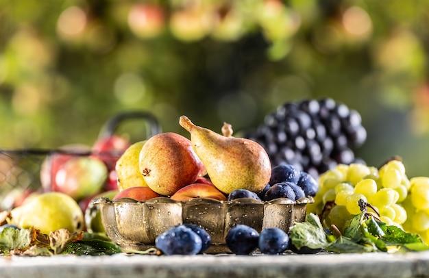 정원에 있는 테이블에 익은 과일. 다양한 정원 과일로 둘러싸인 청동 그릇에 신선한 배.