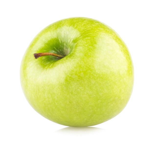 白い背景で隔離の熟した青リンゴ