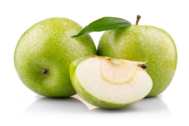 Ripe green apple with slices isolated