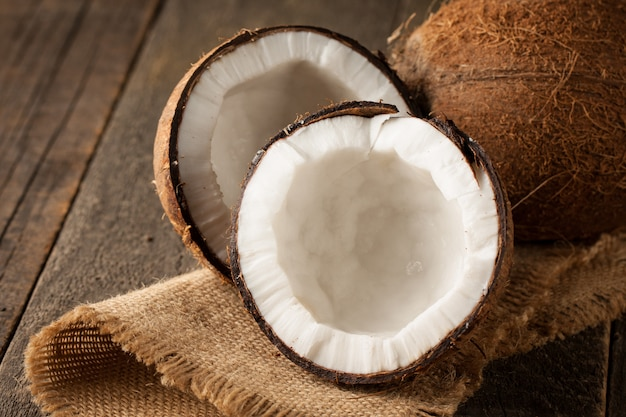 Ripe half cut coconut