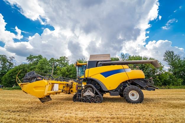 익은 수확 concept.yellow 결합. 자르기 파노라마. 곡물 또는 밀 수집. 중장비. 필드 위의 푸른 하늘입니다.
