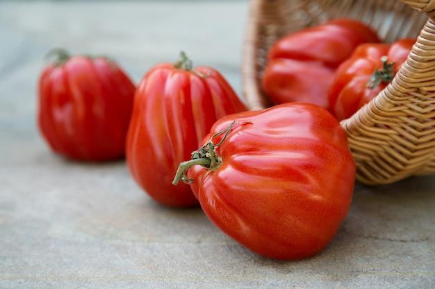Спелые итальянские помидоры в корзине на каменном столе