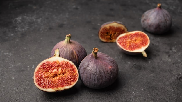 Ripe juicy figs cut in half