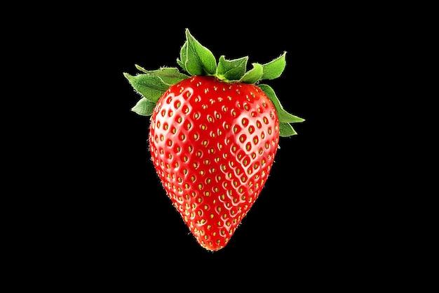 クローズアップで黒の背景に熟したジューシーなイチゴ。