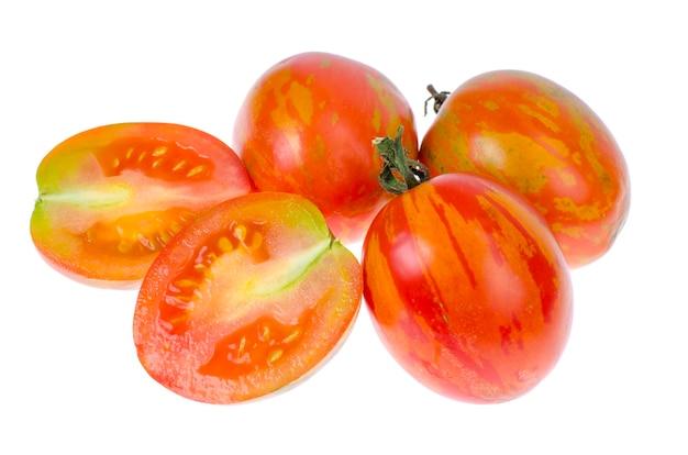 白地に熟したジューシーなトマトの縞模様の色。