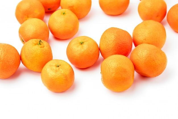 Ripe mandarin citrus isolated on white background