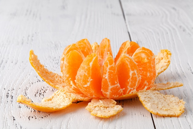 Ripe mandarine citrus . tangerine mandarine orange on wooden background