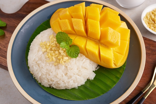 Ripe mango and sticky rice with coconut milk in a plate on stone surface, thai sweet dessert on summer season.