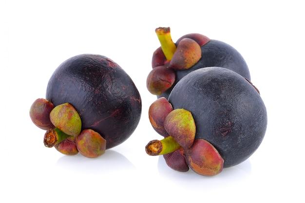 Ripe mangosteen isolated on white background