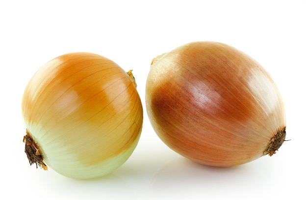 Ripe onion isolated