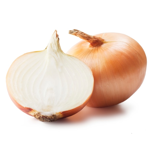 Ripe onions isolated on white