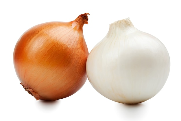 Ripe onions isolated