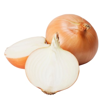 Ripe onions on a white background. clipping path