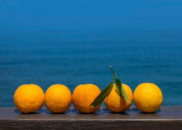 Спелые апельсины на море