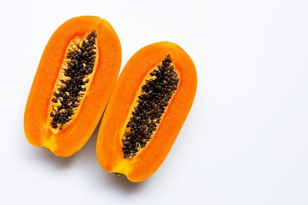 Ripe papaya fruit on white