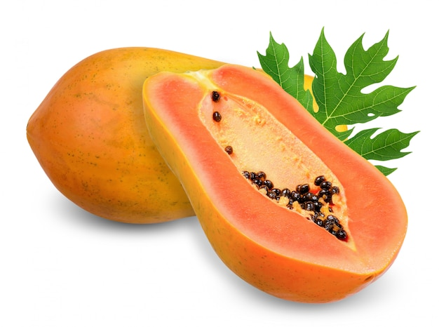 Ripe papaya isolated on white clipping path