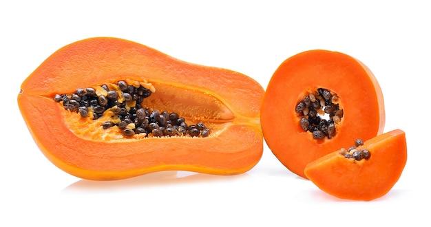 Ripe papaya isolated on a white