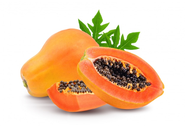 Ripe papaya with leaf on white space