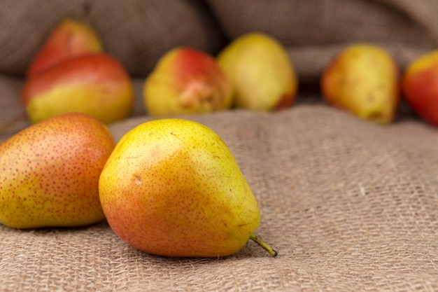 Ripe pears on the table