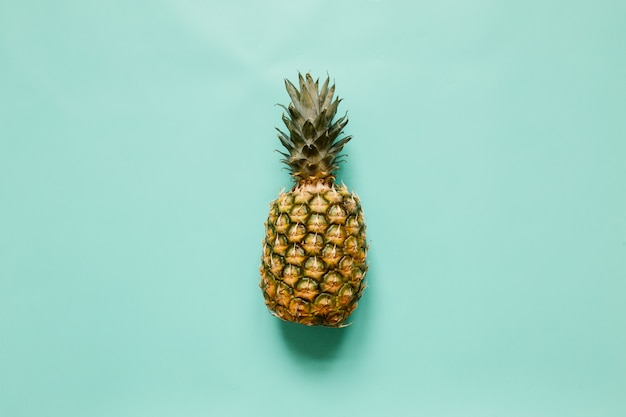 Ripe pineapple on turquoise background isolated. minimalist style trendy tropical concept. room for text, copy, lettering.