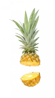 Ripe pineapple on white.