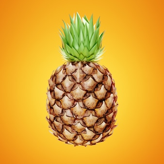 Ripe pineapple on yellow.