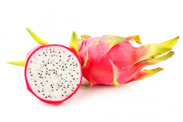 Ripe pink dragon fruit on white background