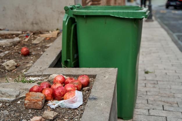 잘 익은 석류 열매는 쓰레기통 근처에 있습니다. 노숙자를 도와주세요.