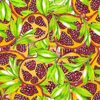 Ripe pomegranate seamless pattern