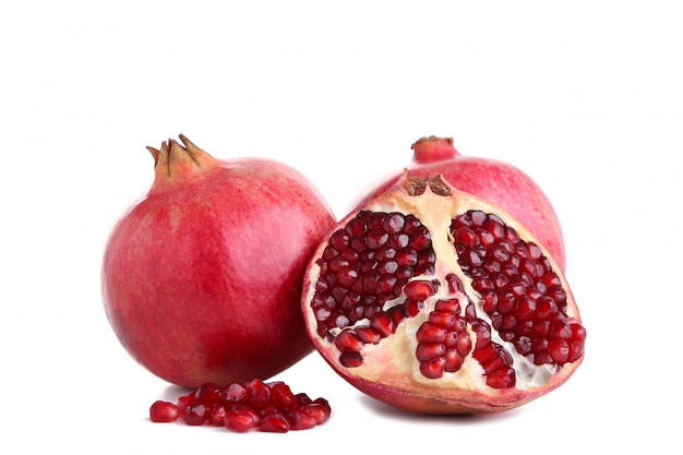 Ripe pomegranates isolated