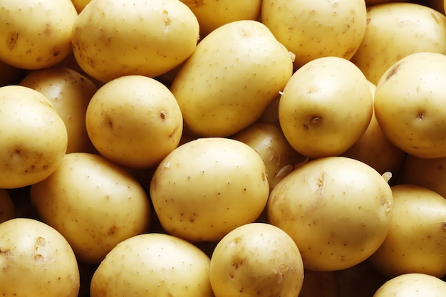 배경 클로즈업으로 익은 감자