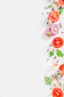 Ripe raw vegetables flatlay
