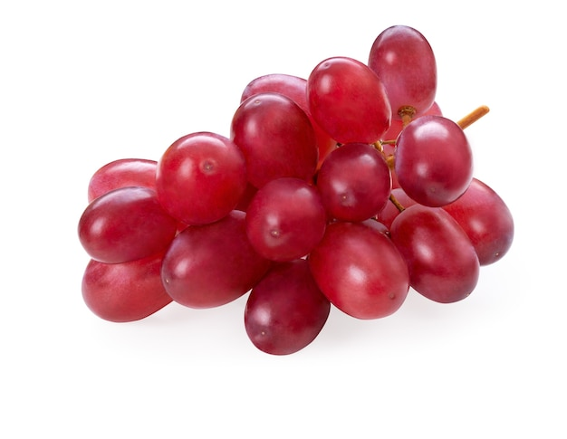 Ripe red grape branch isolated on white