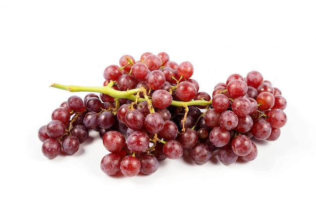 Ripe red grape on a white background, freshness
