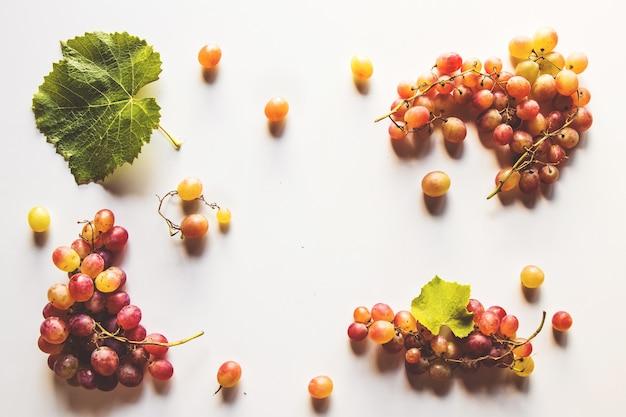 白に分離された葉を持つ熟した赤ブドウ
