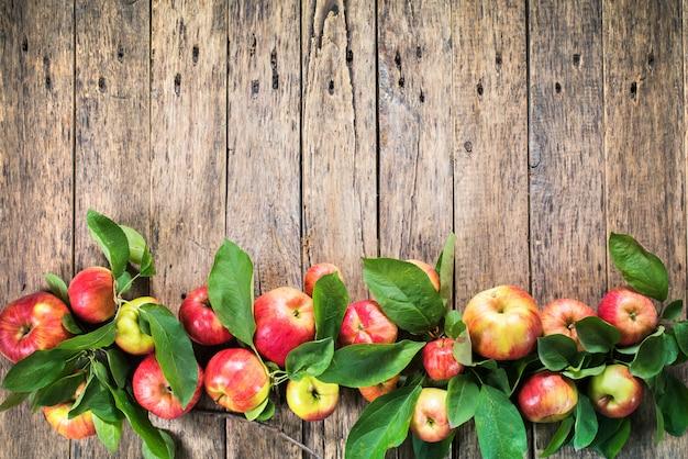 Спелые красные зеленые яблоки листья деревянный стол