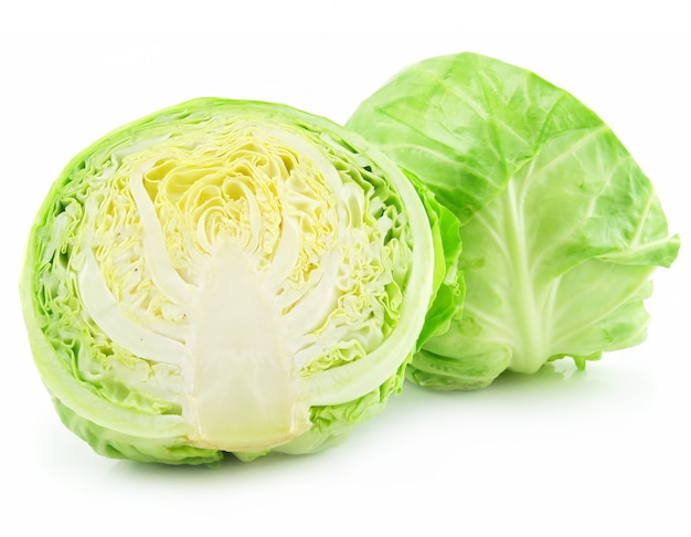 Ripe sliced cabbage isolated on white background