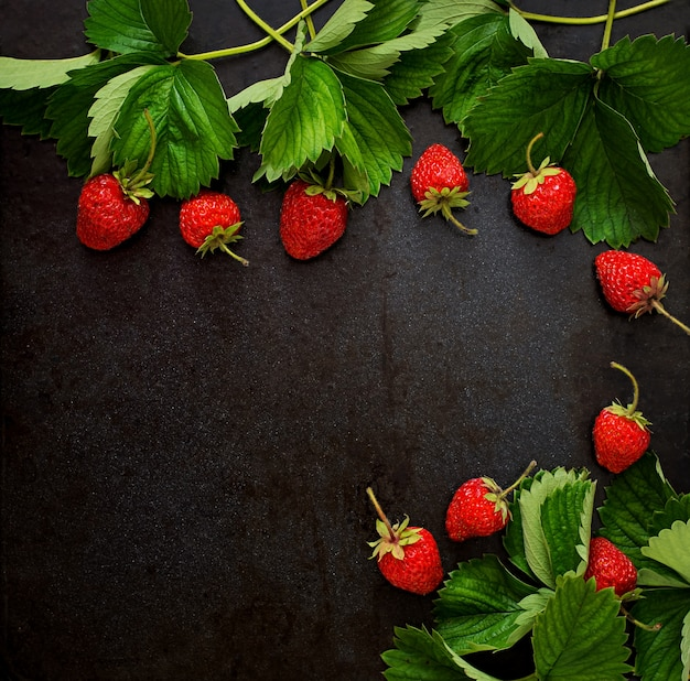 Ripe strawberries and leaves on dark background. top view