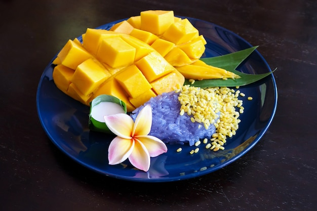 Ripe sweet mango with sticky rice, traditional thai dessert