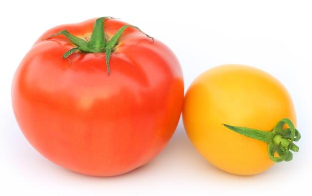흰색 배경 위에 두 가지 색상의 잘 익은 토마토