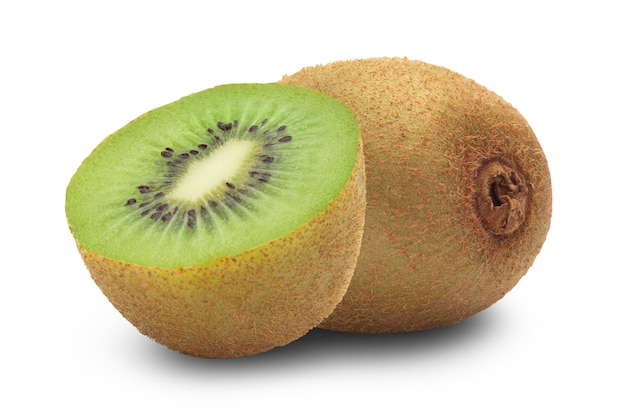 Ripe whole kiwi fruit and half isolated on white with clipping path.
